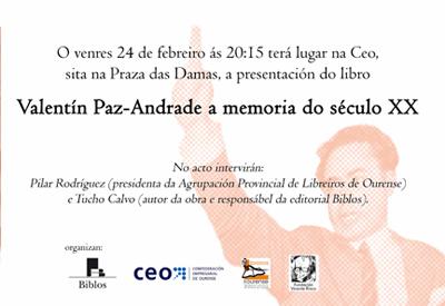 """Presentación do libro """"Valentín Paz-Andrade a memoria do século XX"""""""