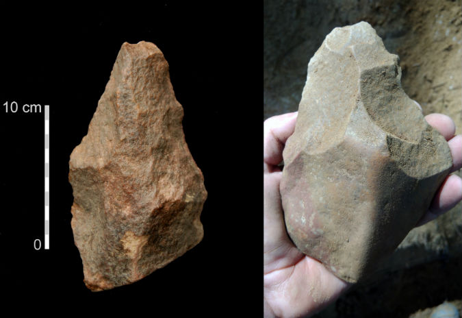 Artefactos de pedra lascada (bifaces e machados de mão) descobertos na Bela