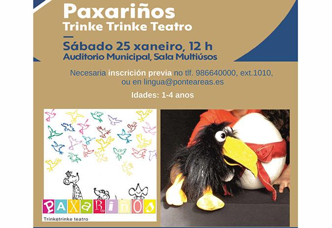 """Paxariños"" de Trinketrinke Teatro, este sábado no auditorio municipal Reveriano Soutullo"