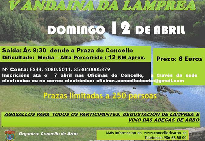 Arbo abre o prazo para inscribirse á V Andaina da Lamprea