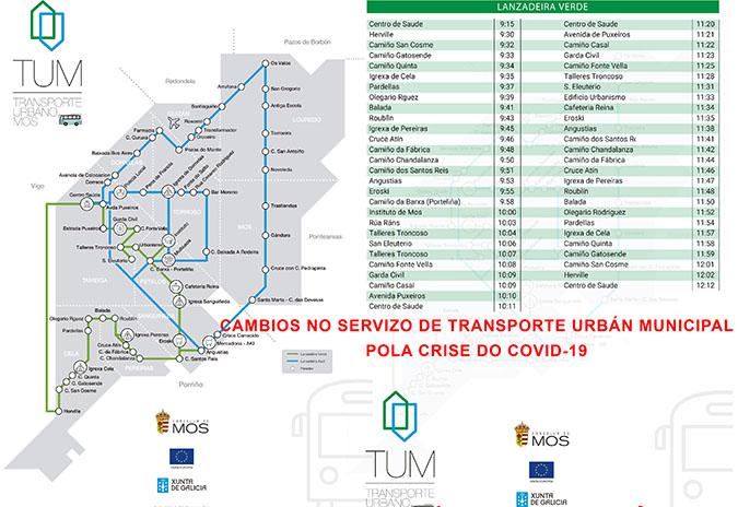 Cambios no Bus Urbán de Mos pola crise do COVID-19