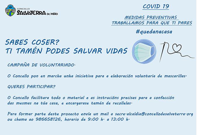 O concello de Salvaterra crea un grupo de voluntariado para facer mascarillas