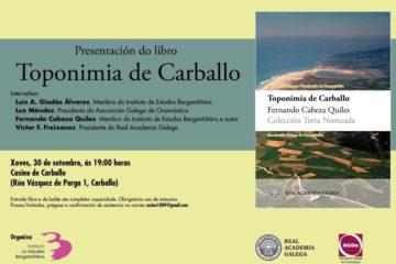 """O libro """"Toponimia do Carballo"""" será presentado este 30 de setembro"""