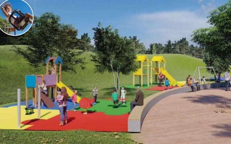 Nova bancada no parque infantil de Barrantes en Ribadumia